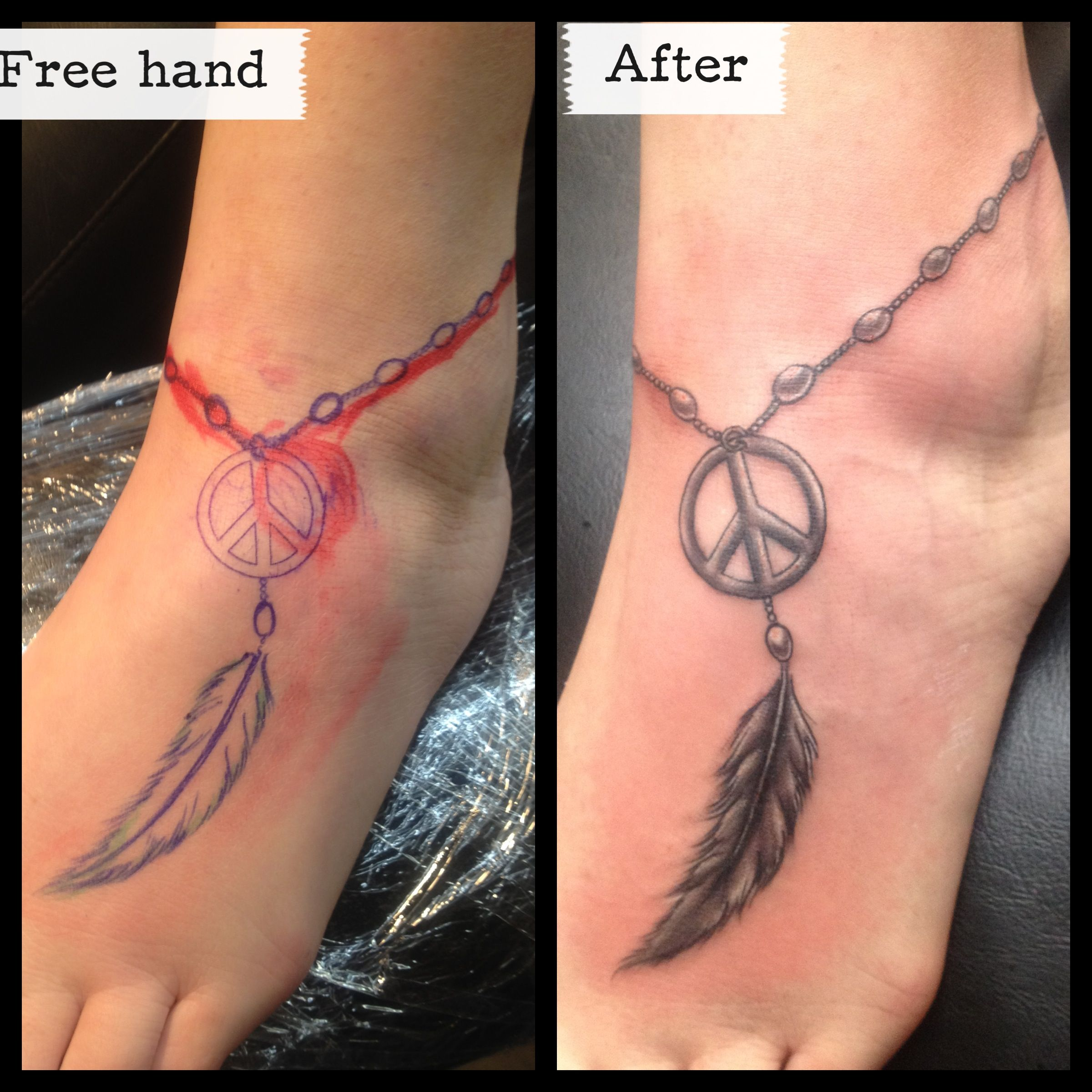 Feather Anklet Foot Tattoo