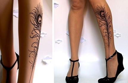 Sexy Peacock Feather Tattoo On Leg