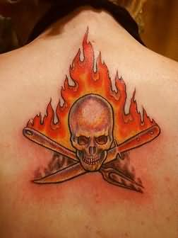 Skull Fire nd Flame Tattoo On Upper Back