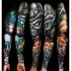Skulls With American Flag Tattoo On Sleeve
