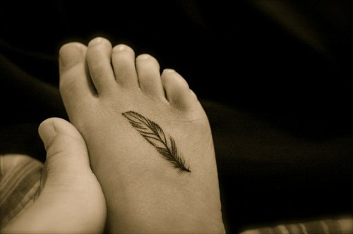Small Feather Tattoo For Foot