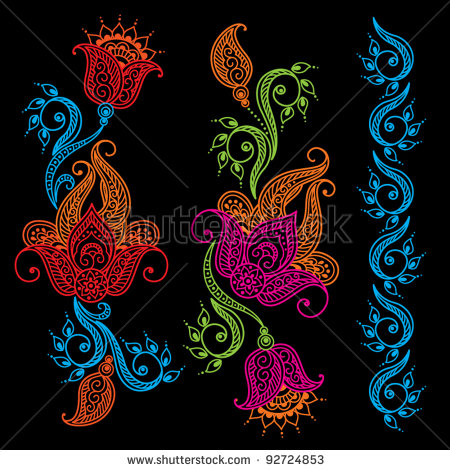 Stock Vector Abstract Floral Tattoo Designs