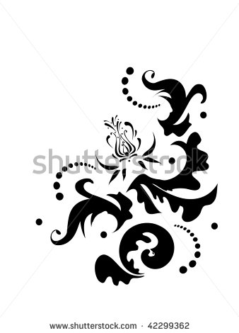 Stock Vector Black Abstract Floral Tattoo Print