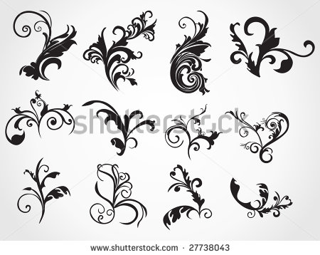 Stock Vector Illustration Set Of Floral Tattoo Designs