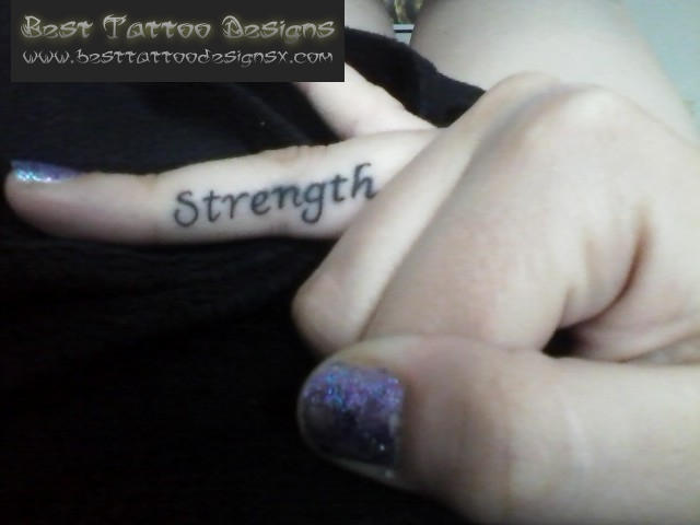 Strength Tattoo On Finger