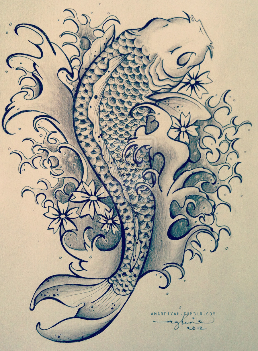 Terrific Koi Fish Tattoo Drawing