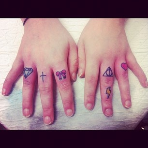 Tiny Diamond Cross Bow n Heart Tattoo On Fingers