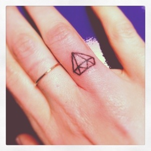 Tiny Diamond Tattoo On Finger