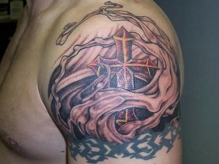Trendy Fire n Flame Tattoo On Left Shoulder