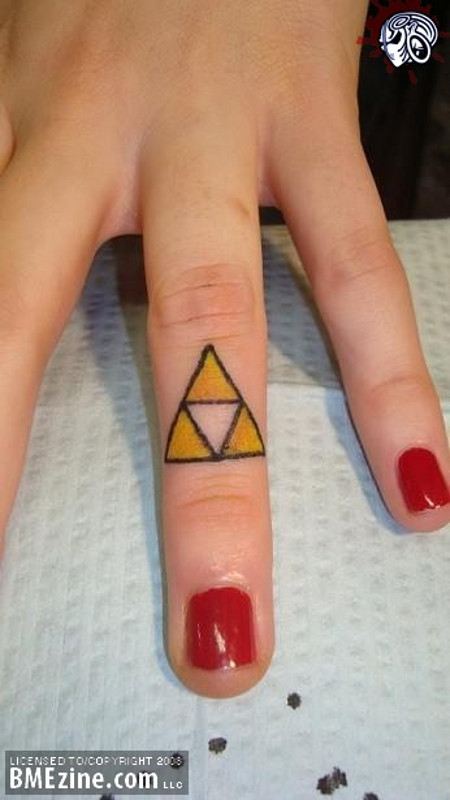 Triforce Tattoo On Finger