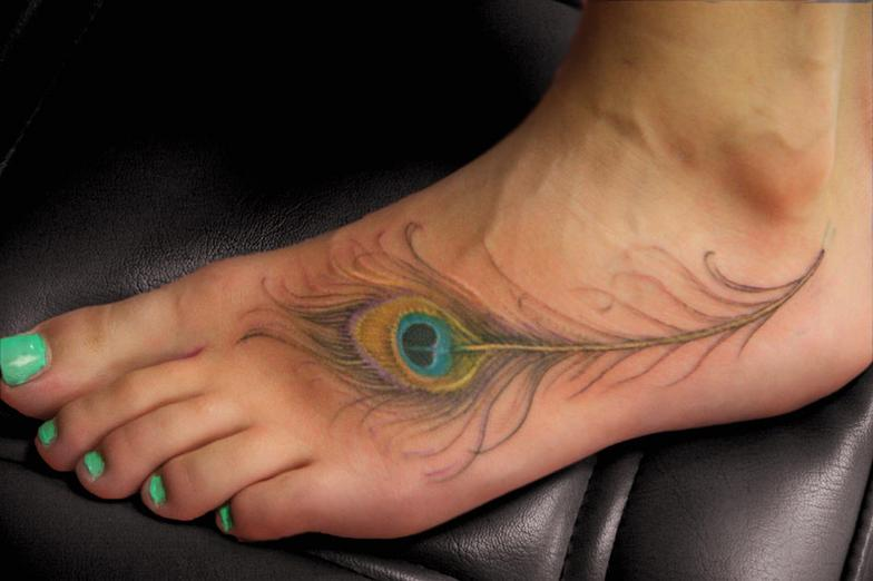 Truly Awesome Feather Tattoo On Foot
