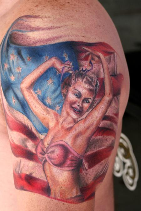 US Flag n Pin Up Girl Tattoo On Shoulder