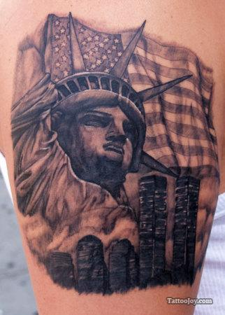 US Flag n Statue Of Liberty Tattoo Design