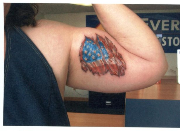 US Flag Tattoo On Muscles