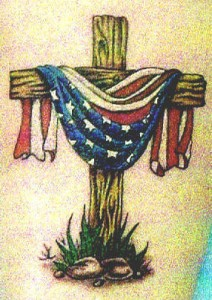 Wooden Cross With Draped American Flag Tattoo Design