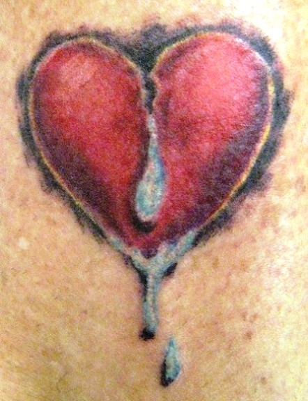 3D Broken Heart With Tears Tattoo Design