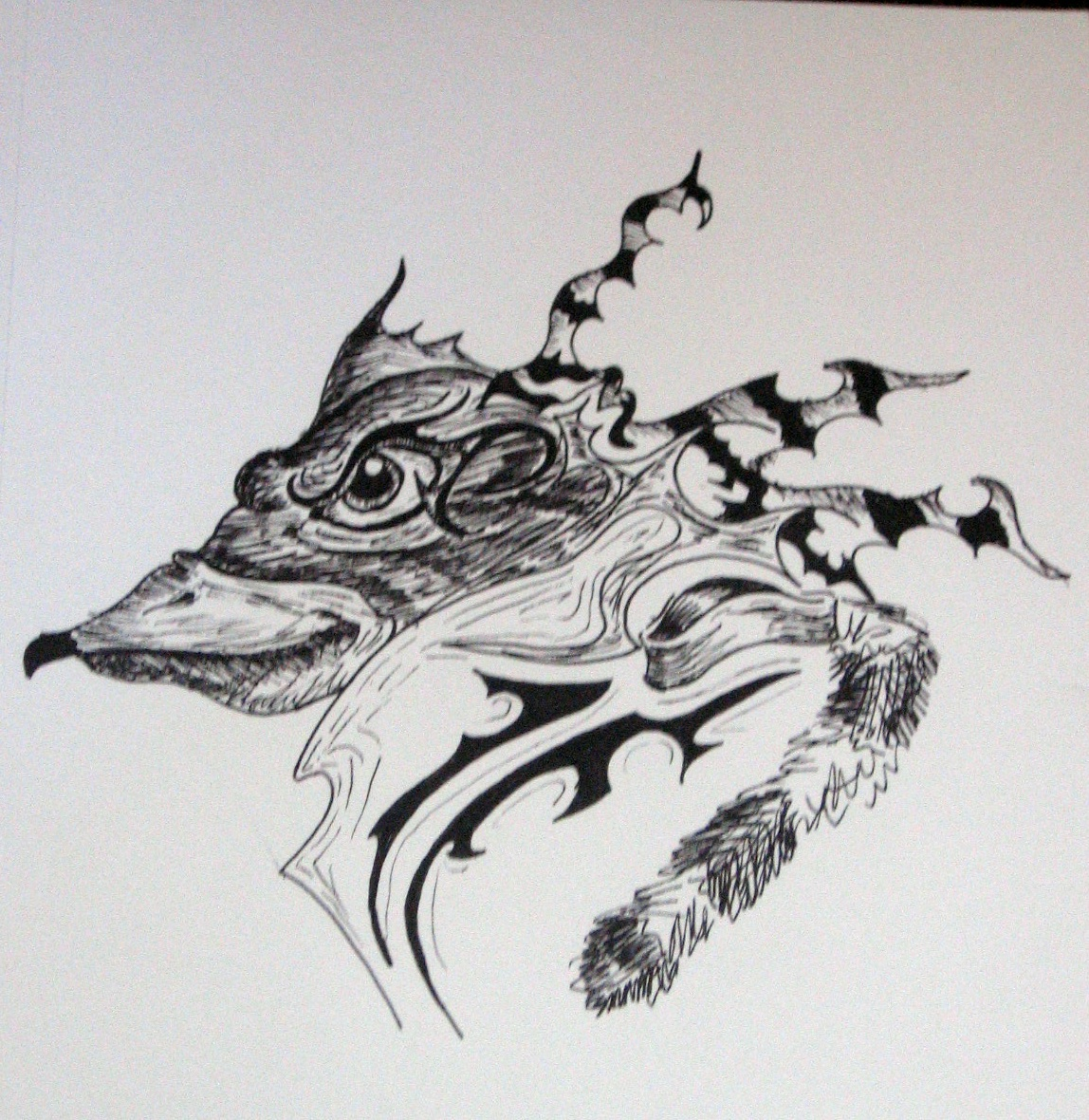 Abstract Frog Bird Tattoo Design