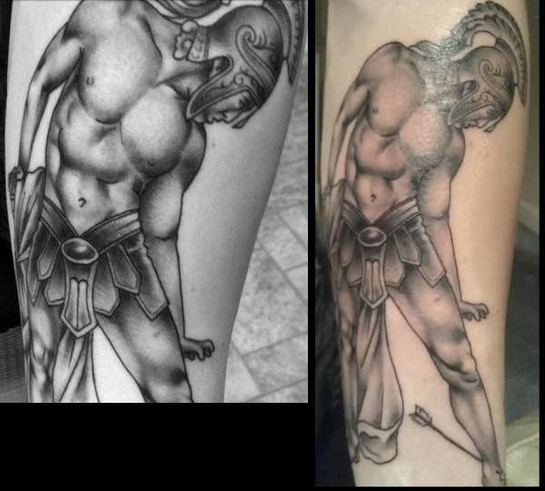 Achilles Greek Warrior Tattoo Design