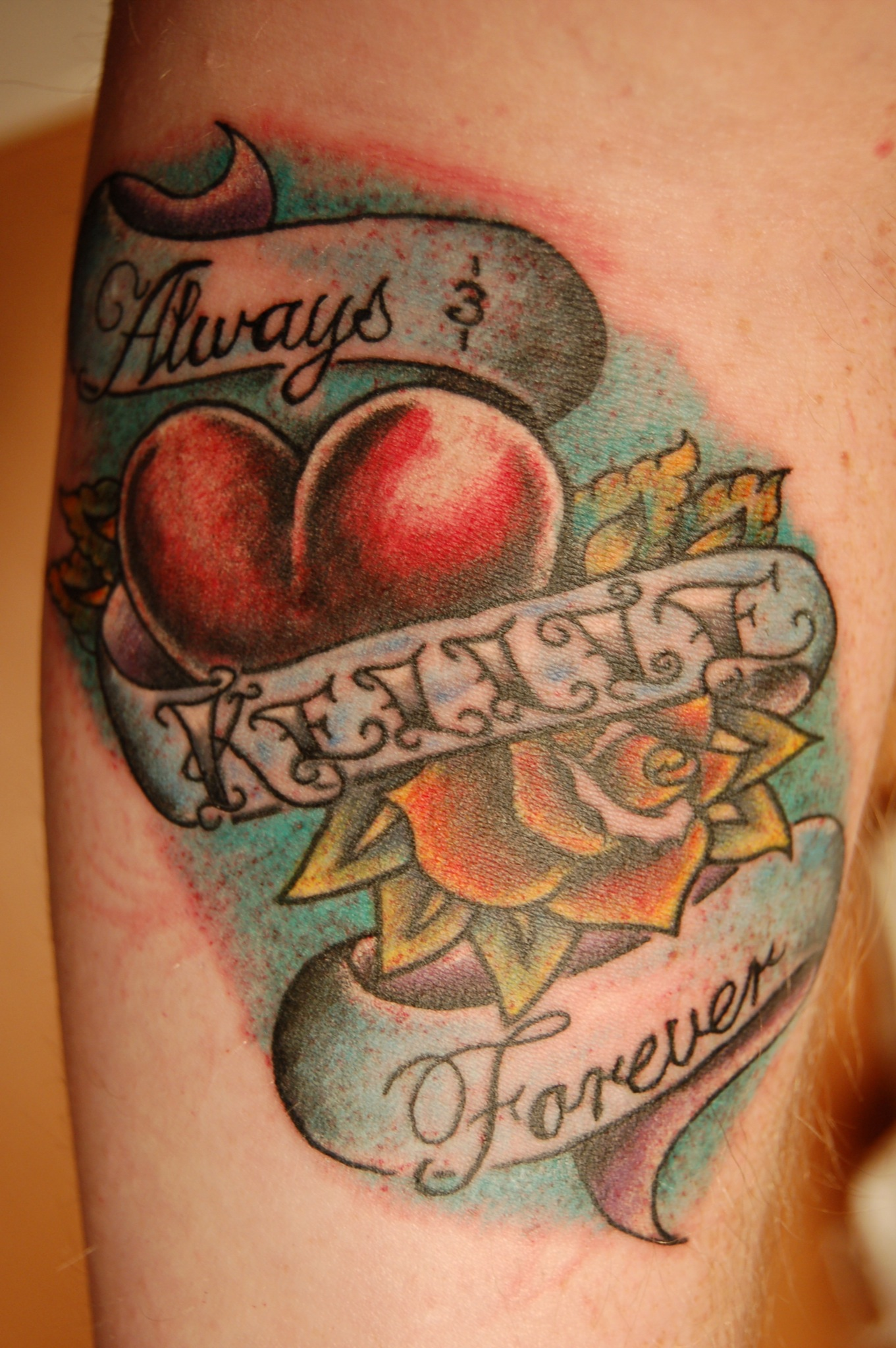 Always Forever Heart n Rose Tattoo Design