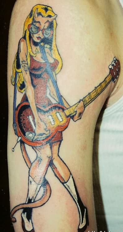 Amazing Band Girl Tattoo On Shoulder