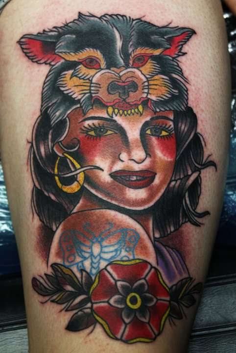American Traditional Pin Up Girl Tattoo Design