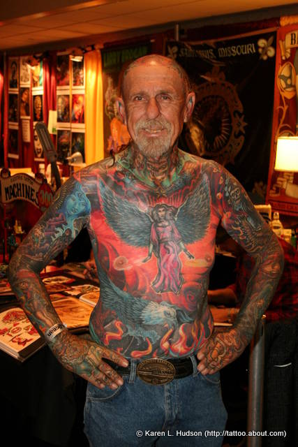 An Old Guy With Full Body Tattoo Design