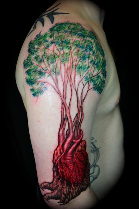 Anatomical Heart Tattoo On Arm Of Man