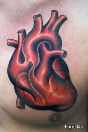 Anatomical Heart Tattoo On Chest