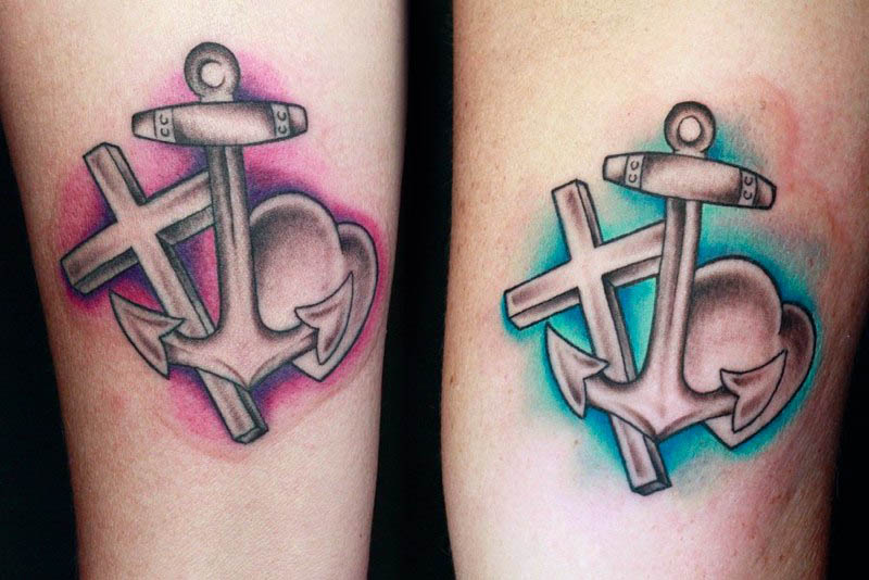 Anchor Heart Cross Tattoo Designs