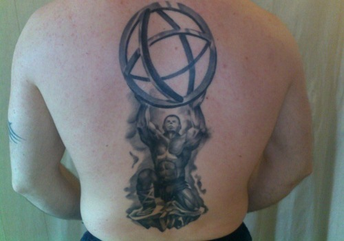 Ancient Greek Atlas Tattoo On Back