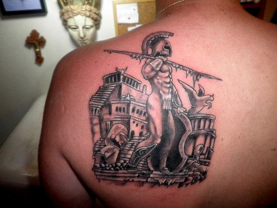 Ancient Greek Tattoo On Back Of Shoulder