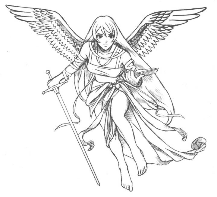 Angel Girl Holding Sword & Book Tattoo Design