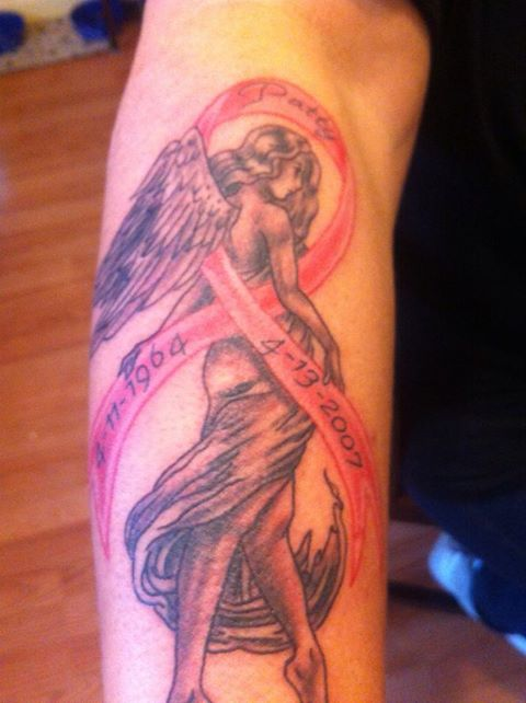 Angel Cancer Ribbon Tattoos Angel girl with breast cancer