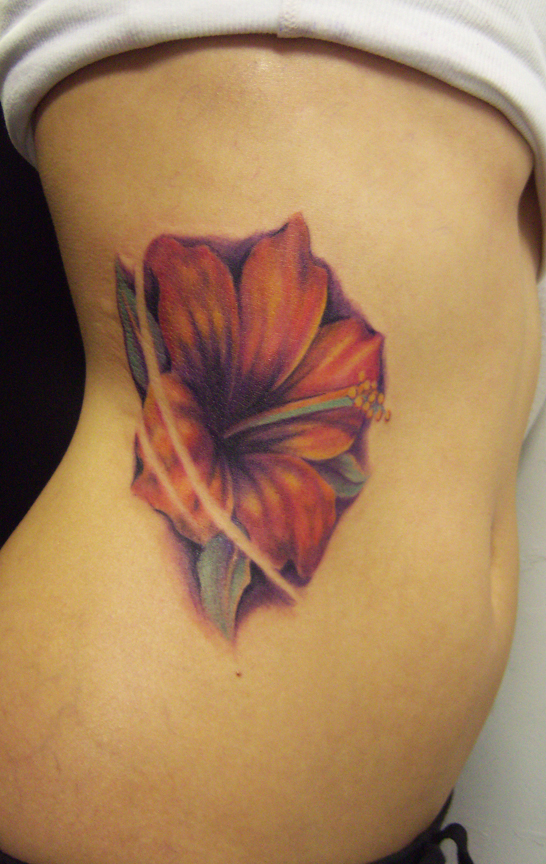 Another Hibiscus Flower Tattoo Design On Rib Side