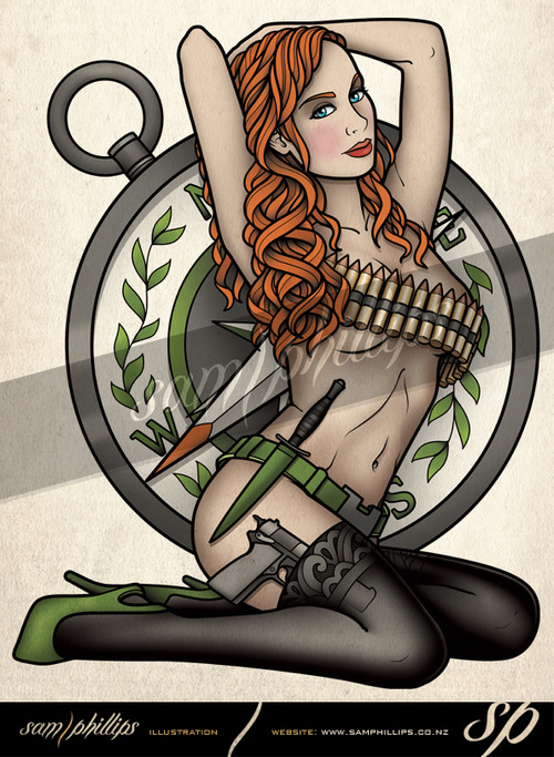 Army Girl With Ammunition Gun & Dagger Tattoo