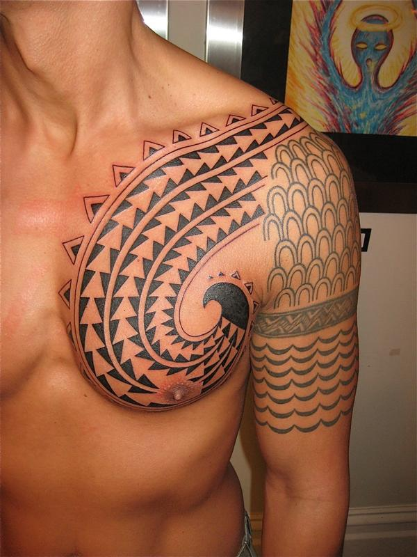 Artistic Hawaiian Tattoo On Chest