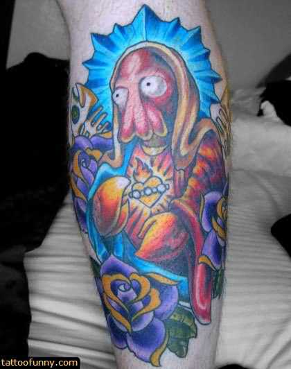 Attractive Funny Tattoo On Leg
