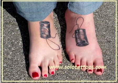 Awesome Friendship Tattoo Design On Foot
