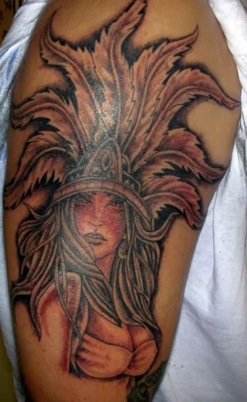 Aztec Girl Tattoo On Bicep