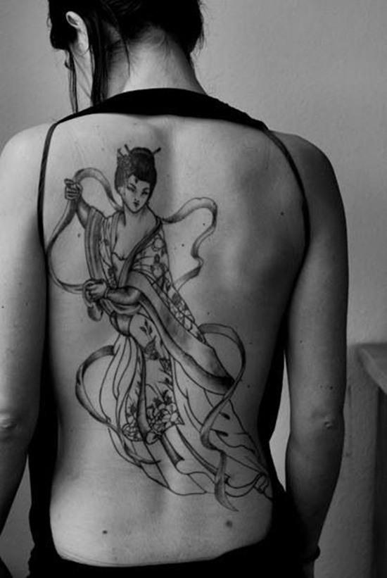 Back Body Geisha Tattoo Design For Women