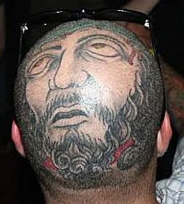 Bald Head Face Tattoo Design