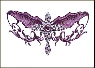 Bat Winged Gothic Cross Tattoo Design