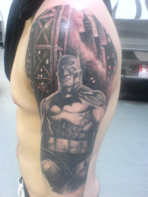 Batman Half Sleeve Tattoo Design For Men