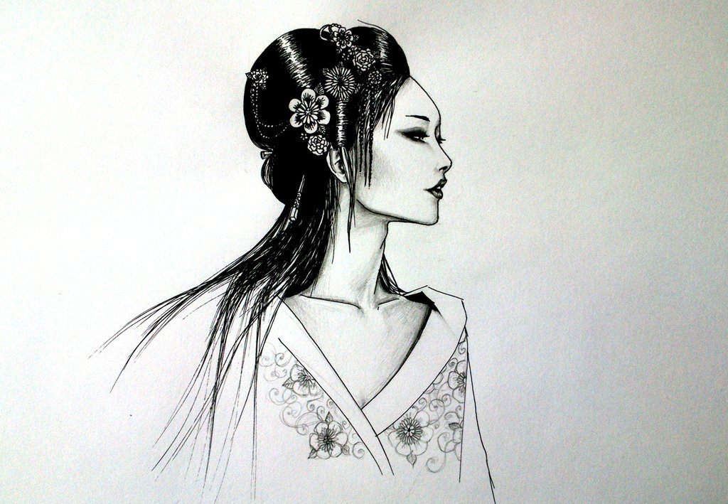 Beautiful Geisha Girl Tattoo Design