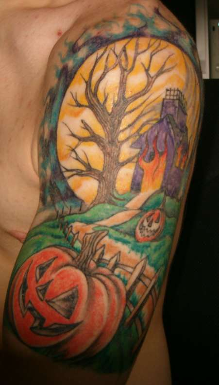Beautiful Halloween Tattoo Design On Arm