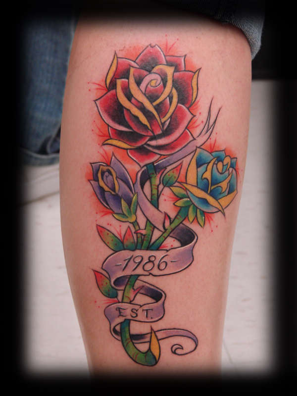Beautiful Rose Flower Tattoo Design