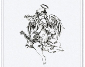 Beautiful Winged Angel Girl Tattoo Design