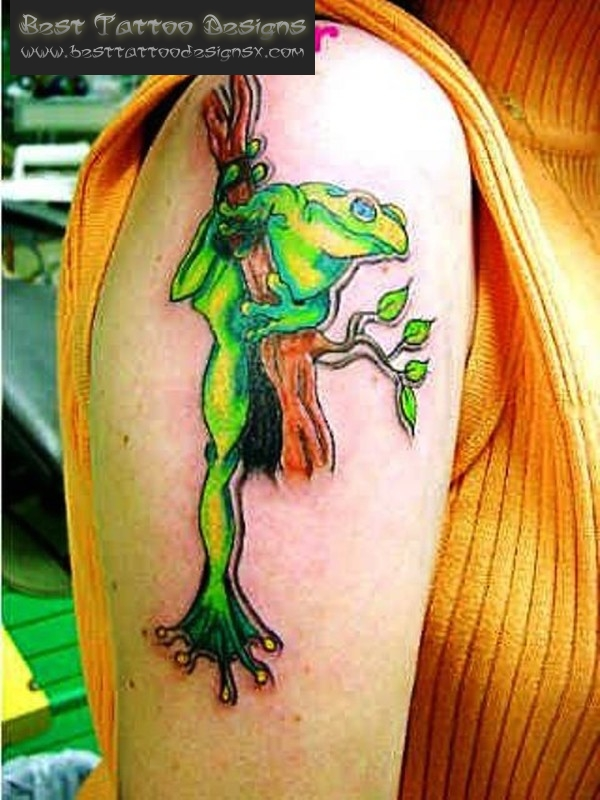Best Frog Tattoo On Upper Arm