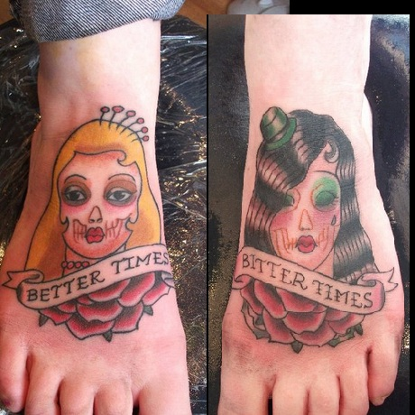 Better Times Gypsy Head Tattoo Designs On Feet