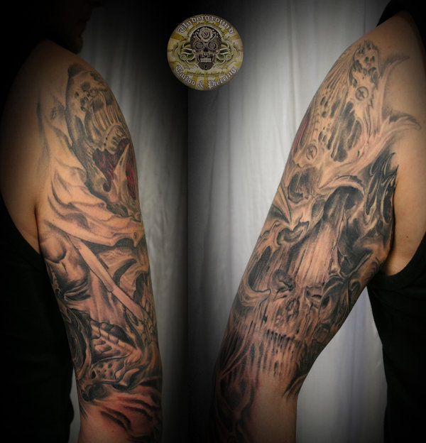 Biomech Skull Horror Arm Tattoo Design